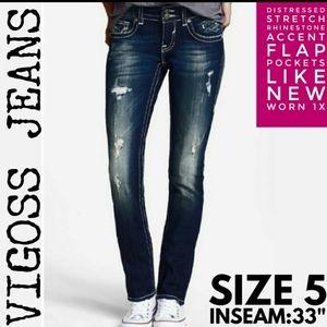 Vigoss Jeans Size 5 Distressed Boot Cut EUC